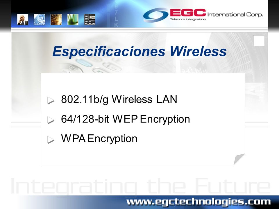Especificaciones Wireless