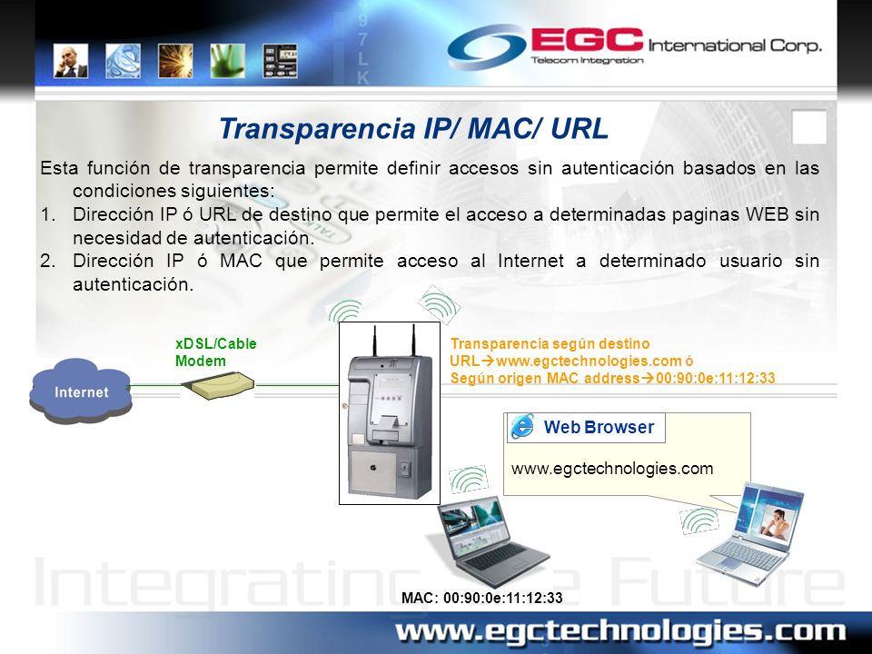 Transparencia IP/ MAC/ URL