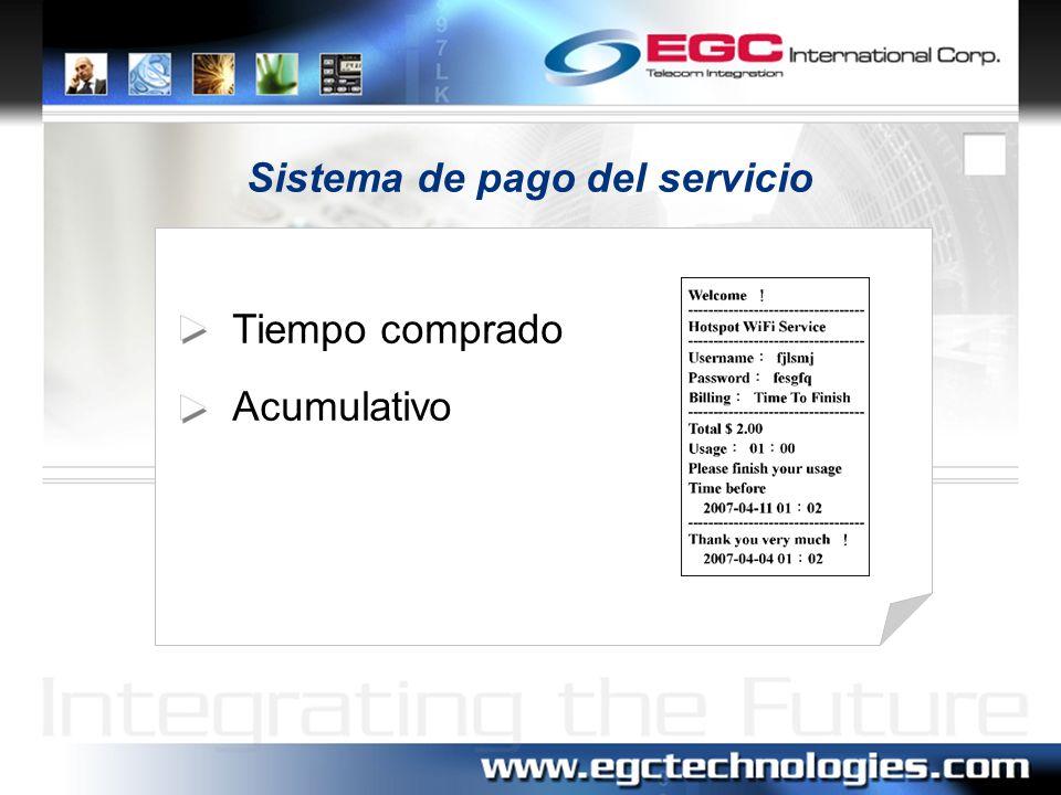 Sistema de pago del servicio