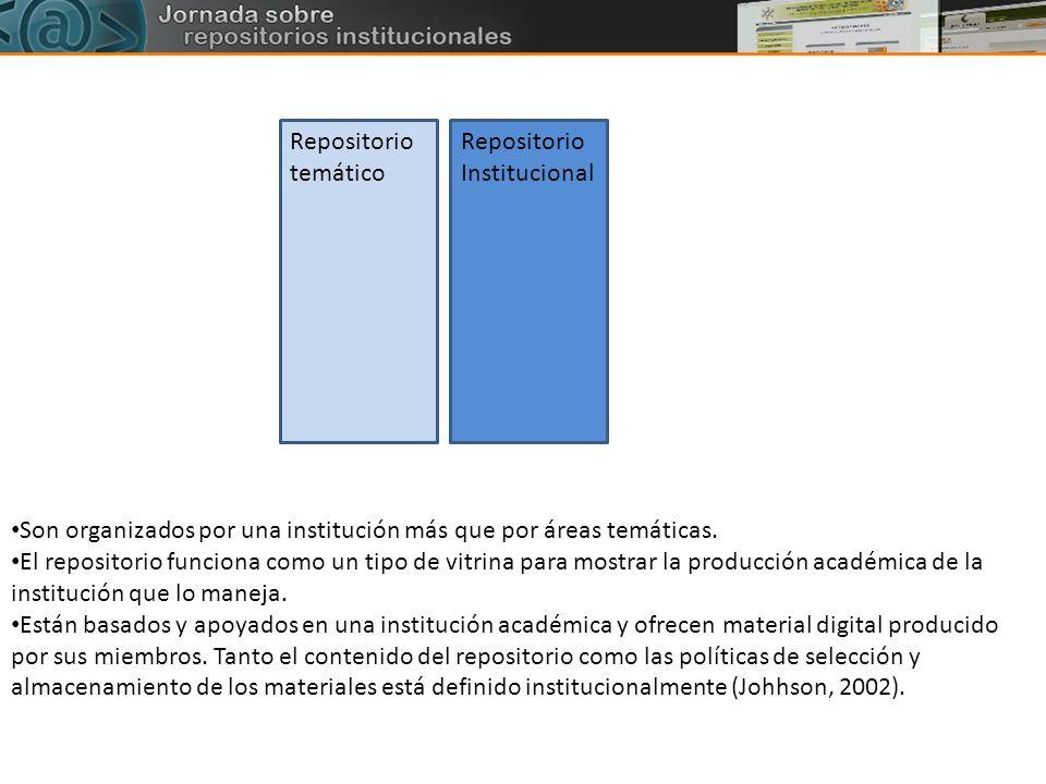 Repositorio temático Repositorio Institucional. Son organizados por una institución más que por áreas temáticas.