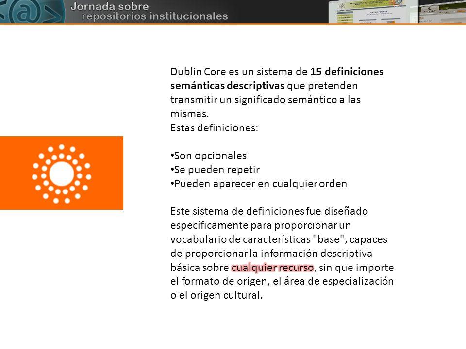 Dublin Core es un sistema de 15 definiciones semánticas descriptivas que pretenden transmitir un significado semántico a las mismas.