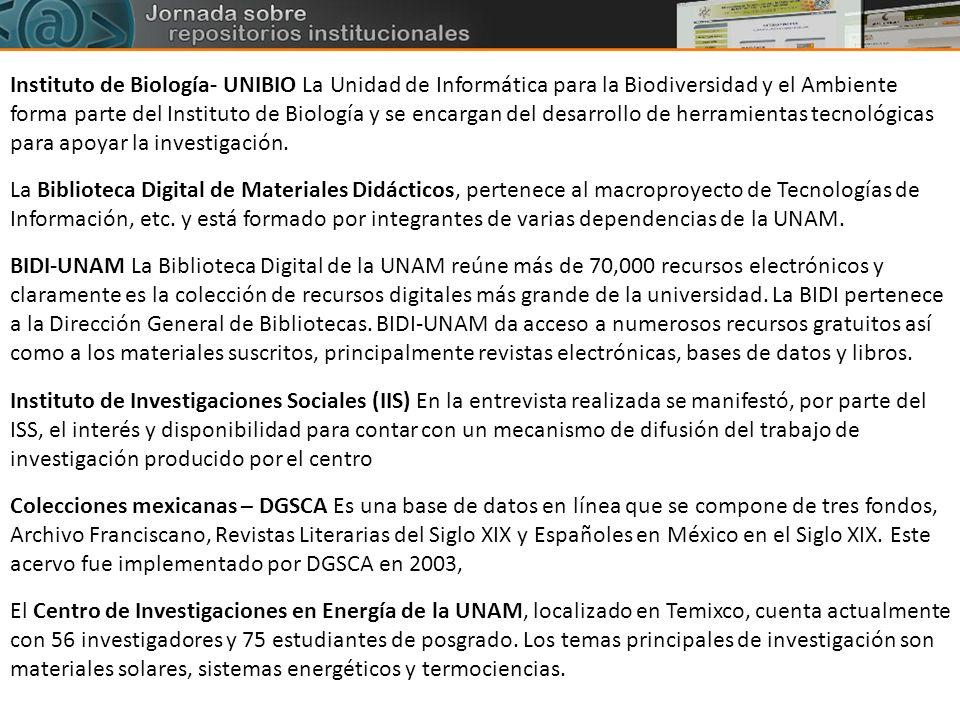 Instituto de Biología- UNIBIO La Unidad de Informática para la Biodiversidad y el Ambiente forma parte del Instituto de Biología y se encargan del desarrollo de herramientas tecnológicas para apoyar la investigación.
