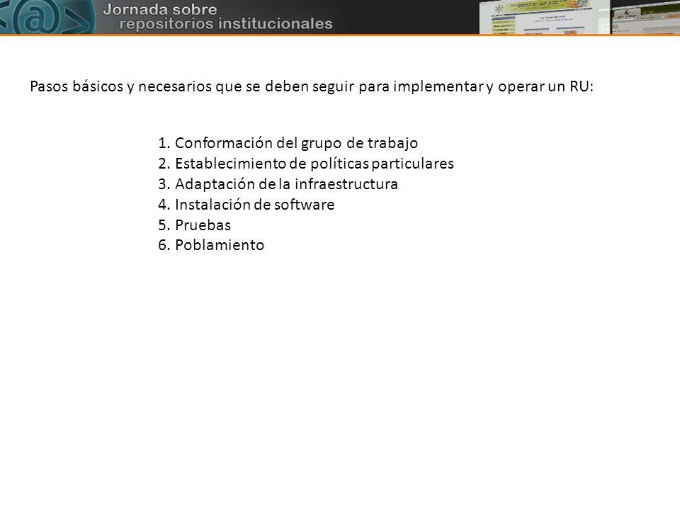 Pasos básicos y necesarios que se deben seguir para implementar y operar un RU: