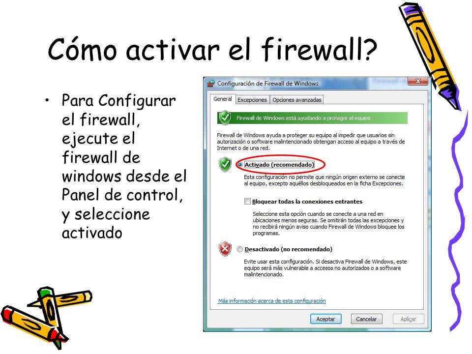 Cómo activar el firewall