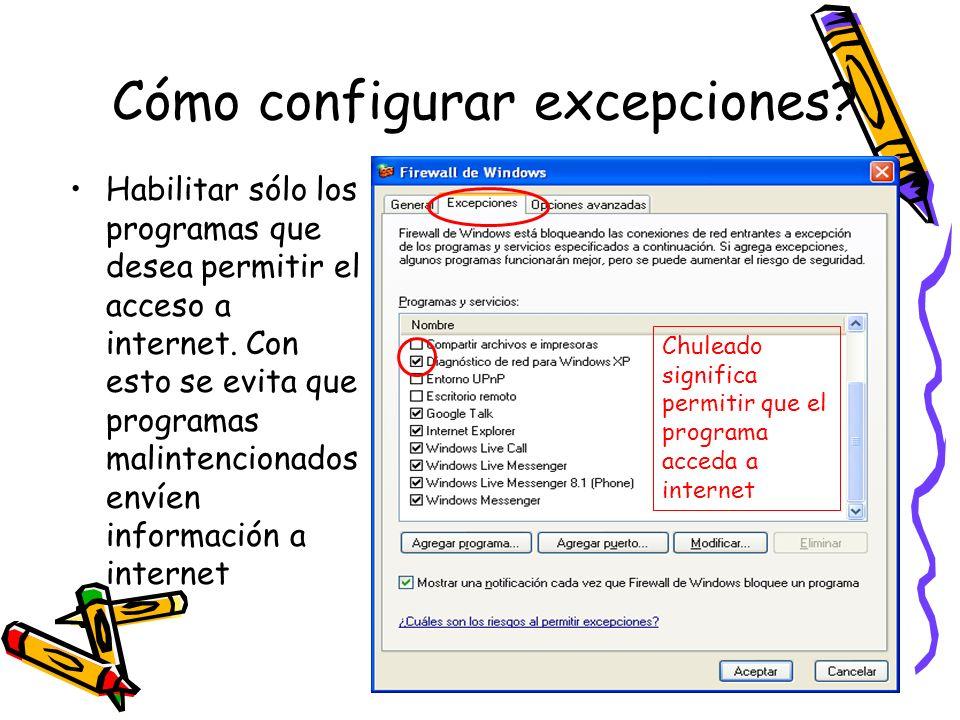 Cómo configurar excepciones