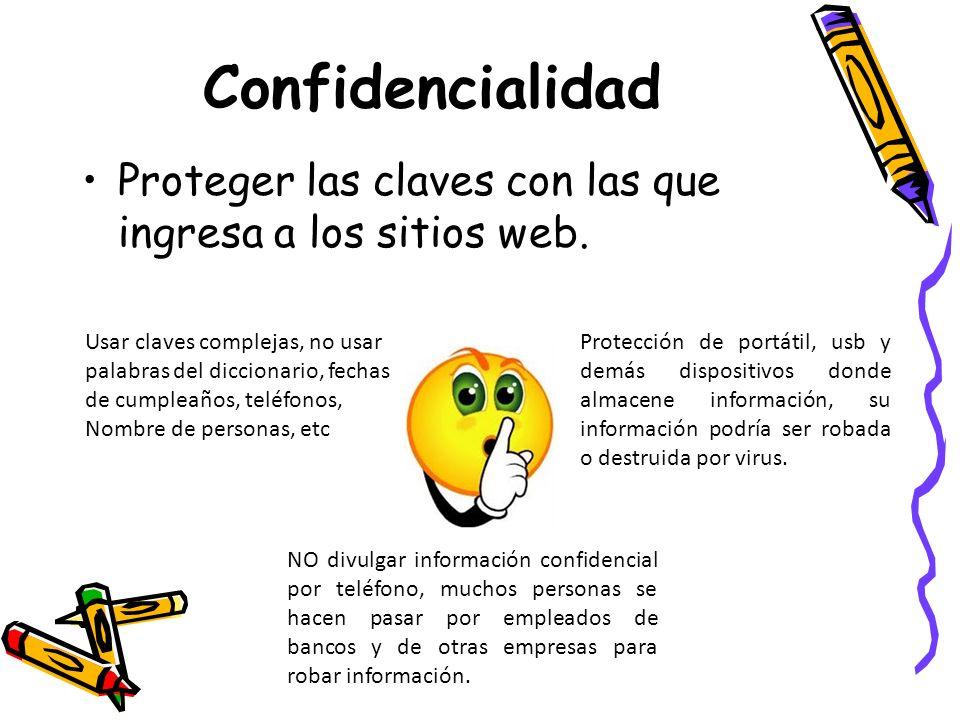 Confidencialidad Proteger las claves con las que ingresa a los sitios web. Usar claves complejas, no usar.