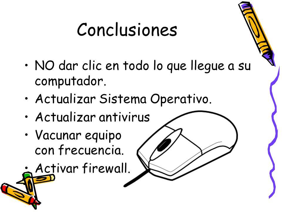 Conclusiones NO dar clic en todo lo que llegue a su computador.