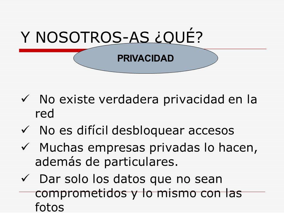 Y NOSOTROS-AS ¿QUÉ No existe verdadera privacidad en la red