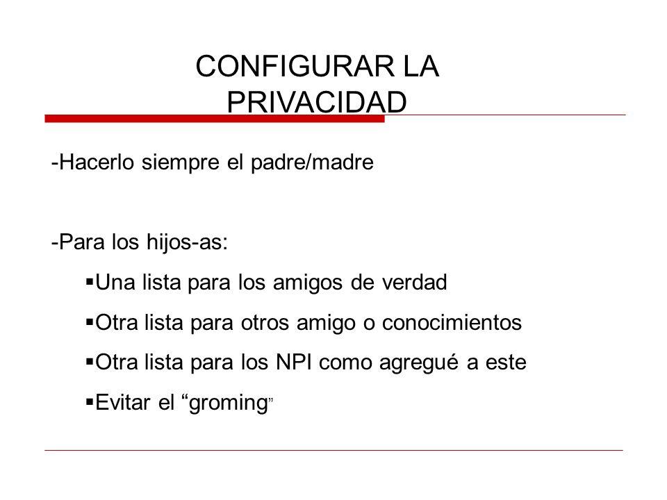 CONFIGURAR LA PRIVACIDAD