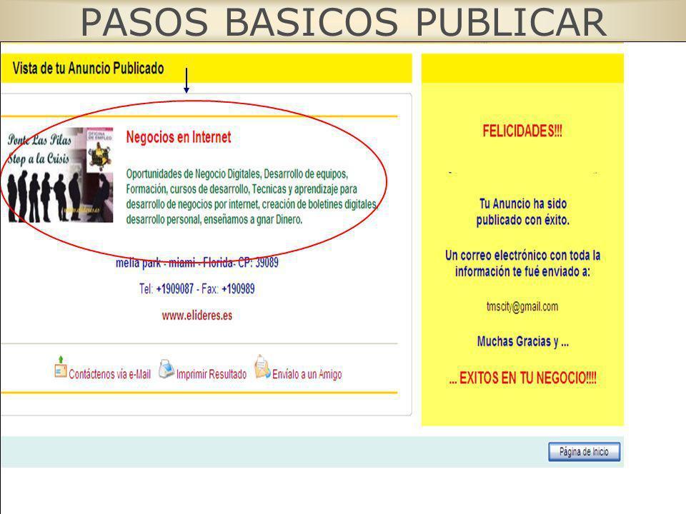 PASOS BASICOS PUBLICAR