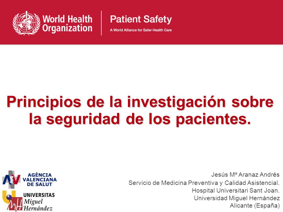 Principios de la investigación sobre la seguridad de los pacientes.