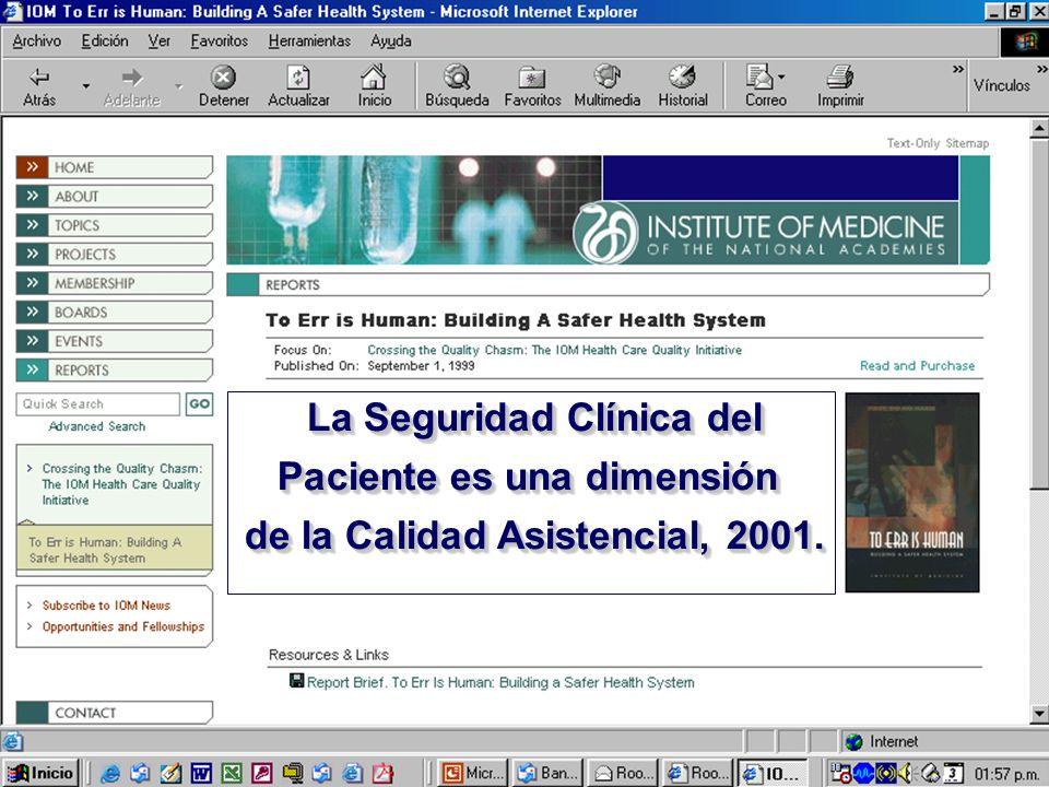 La Seguridad Clínica del Paciente es una dimensión