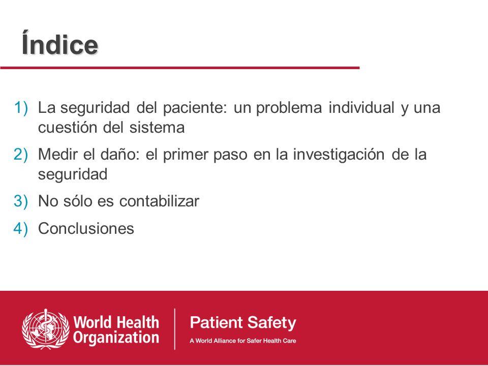 Índice La seguridad del paciente: un problema individual y una cuestión del sistema.