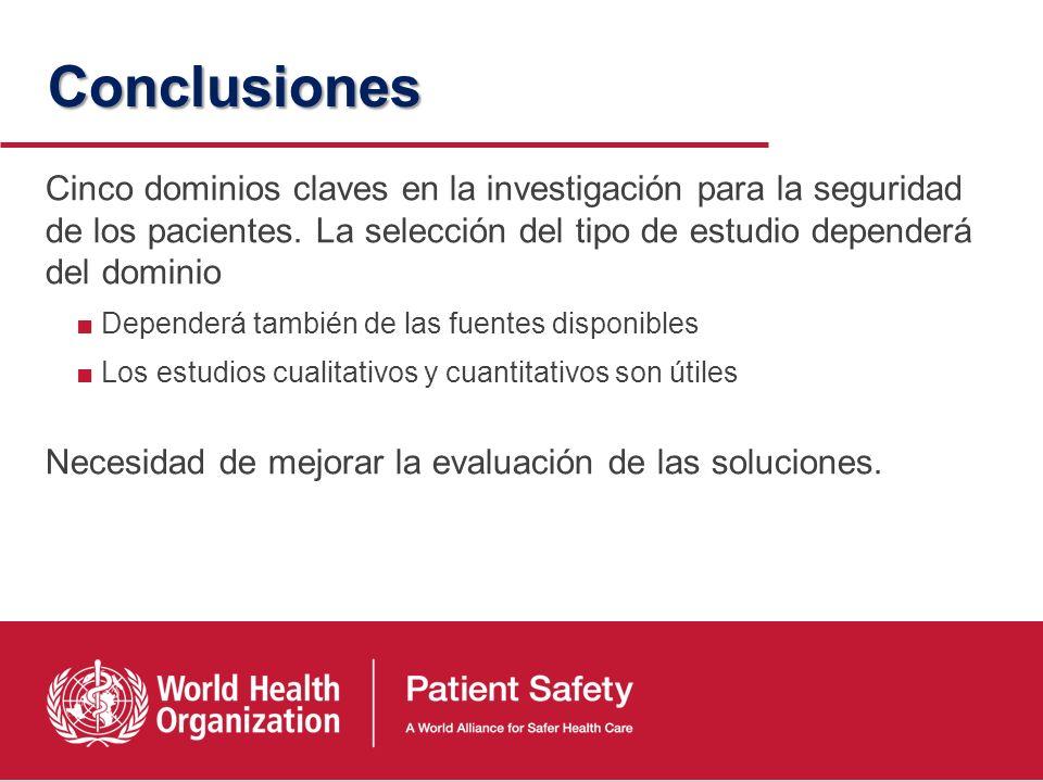 Conclusiones Cinco dominios claves en la investigación para la seguridad de los pacientes. La selección del tipo de estudio dependerá del dominio.