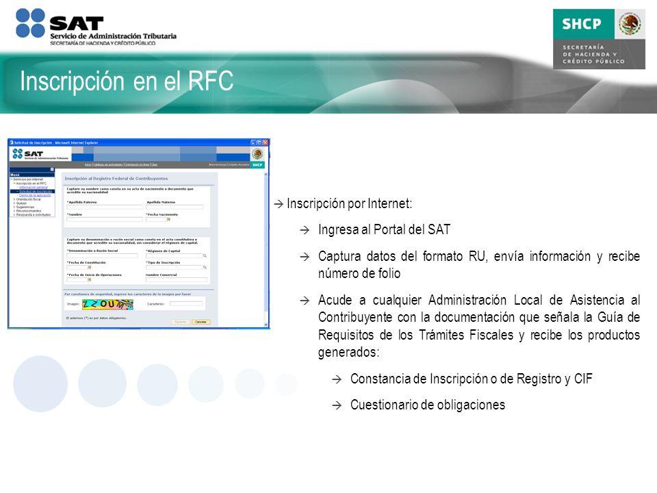 Inscripción en el RFC Inscripción por Internet: