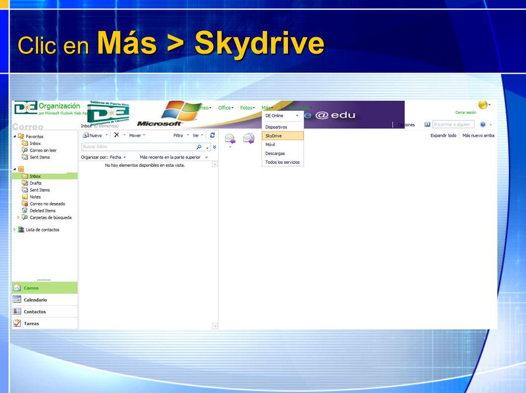 Clic en Más > Skydrive