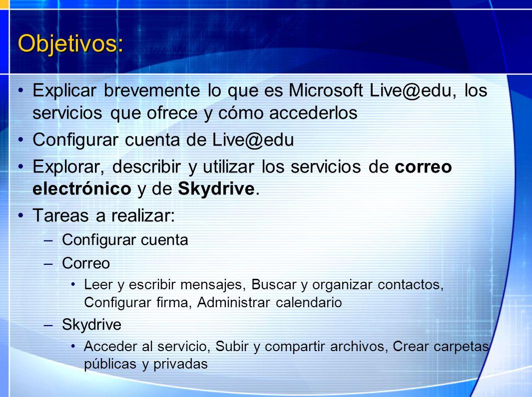 Objetivos: Explicar brevemente lo que es Microsoft Live@edu, los servicios que ofrece y cómo accederlos.
