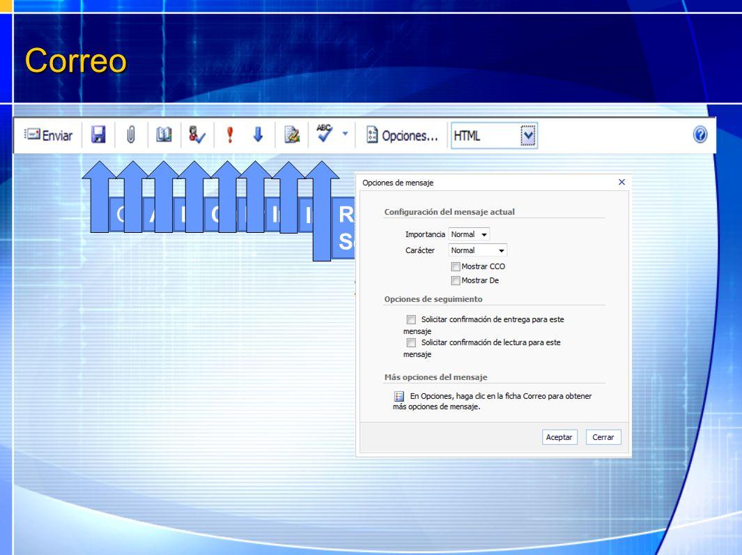 Correo Guardar Adjuntar archivo Libreta de direcciones