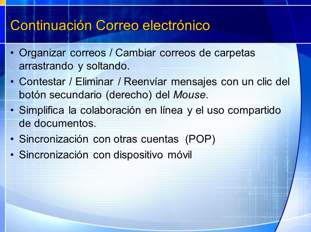 Continuación Correo electrónico