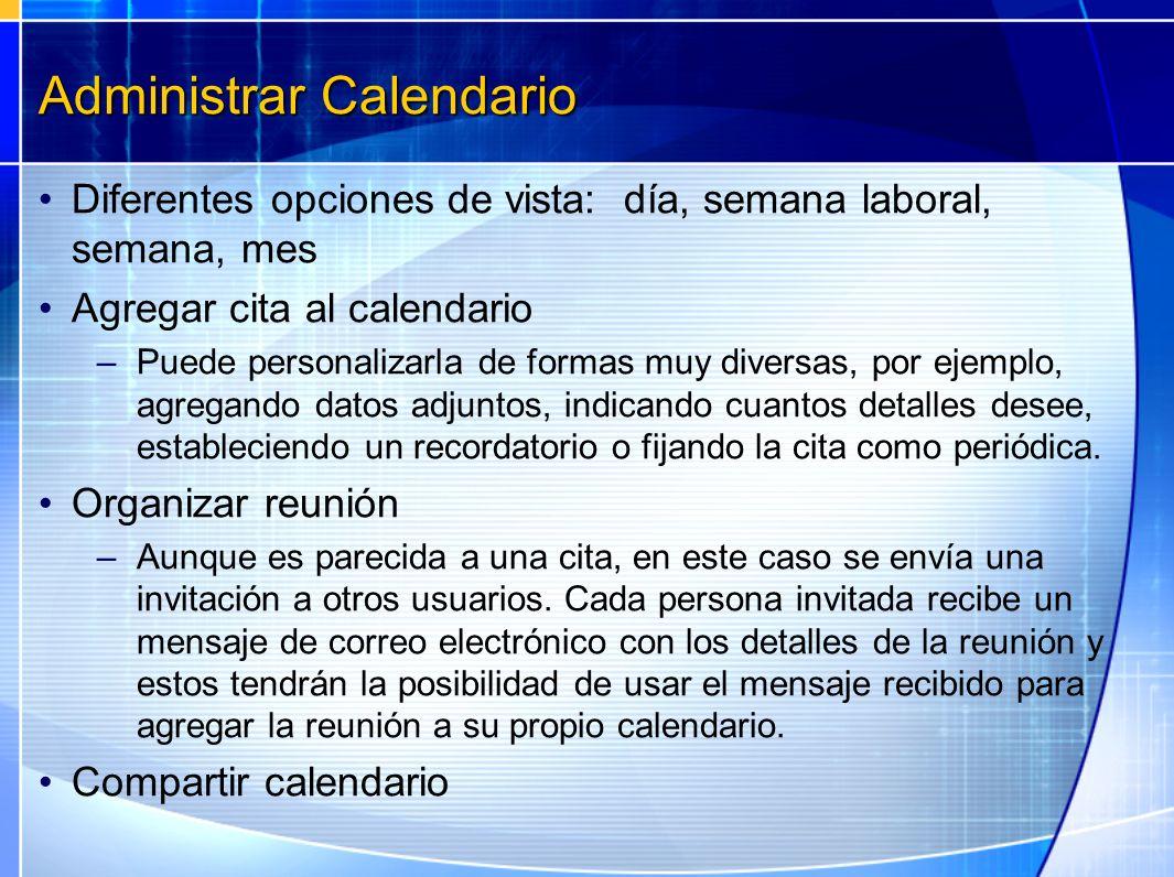 Administrar Calendario