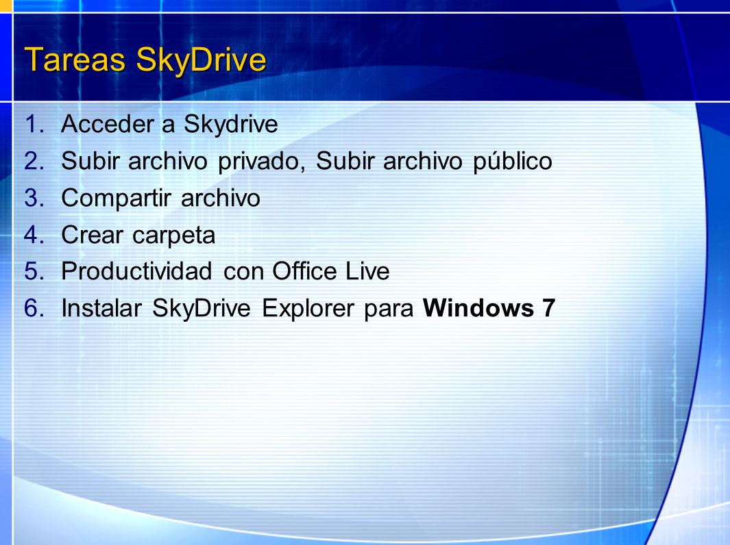 Tareas SkyDrive Acceder a Skydrive