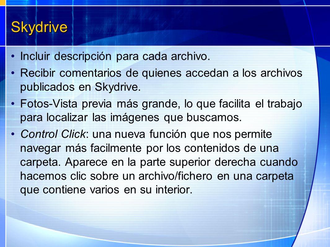 Skydrive Incluir descripción para cada archivo.