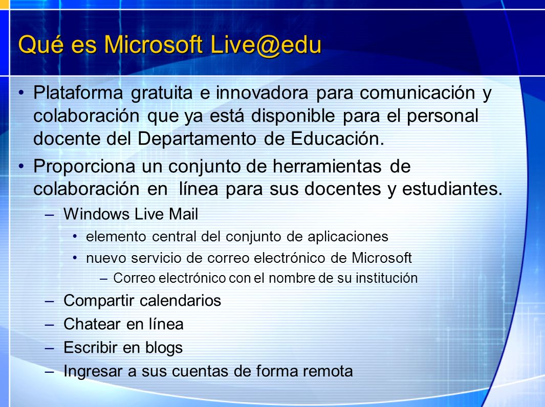 Qué es Microsoft Live@edu