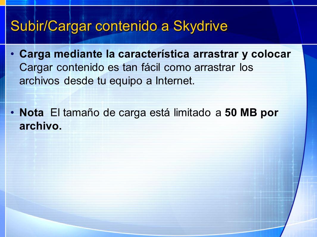 Subir/Cargar contenido a Skydrive