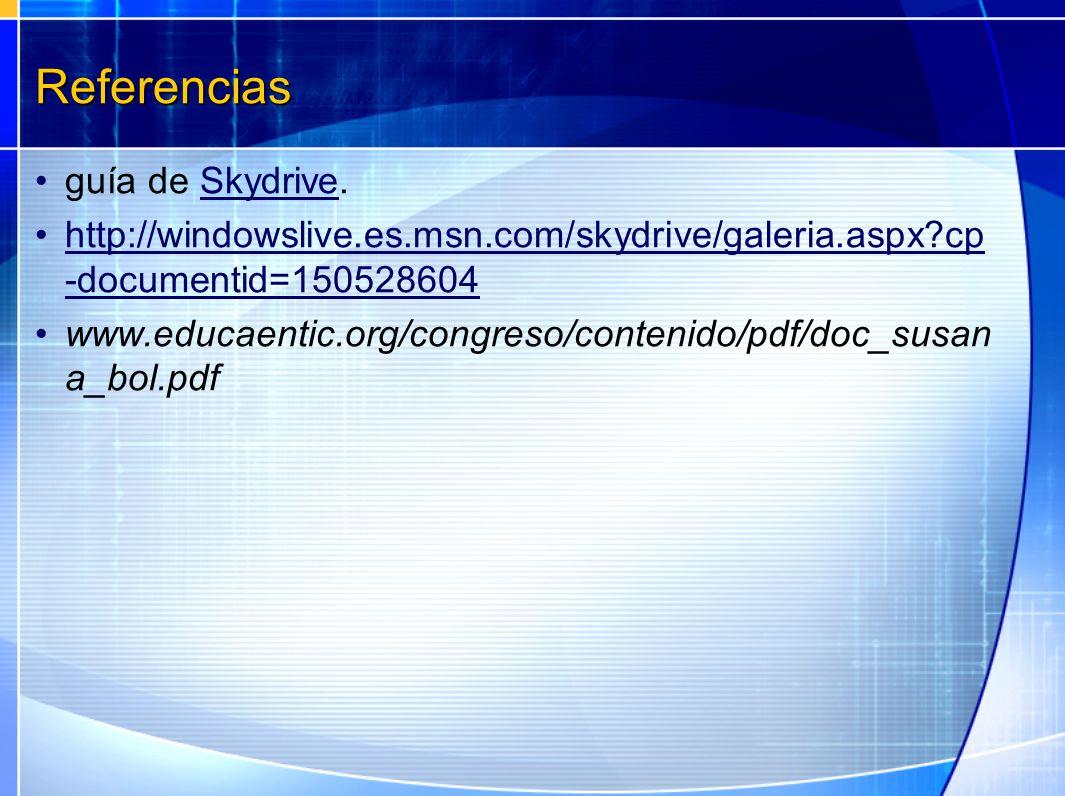 Referencias guía de Skydrive.