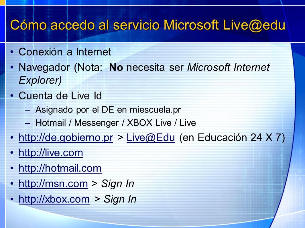 Cómo accedo al servicio Microsoft Live@edu