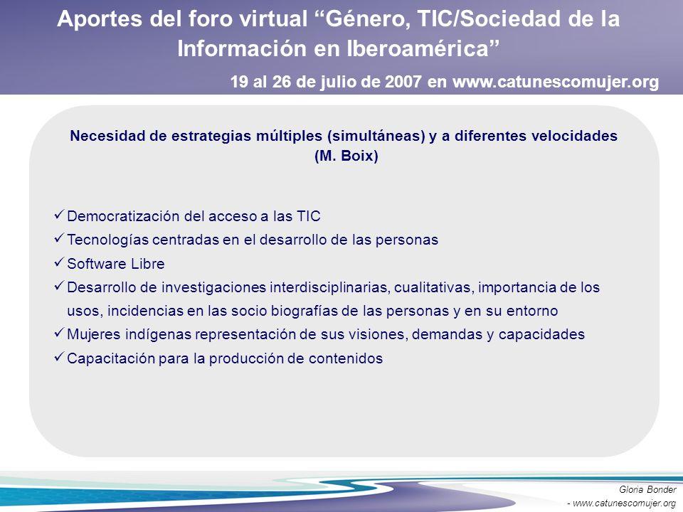 Aportes del foro virtual Género, TIC/Sociedad de la Información en Iberoamérica