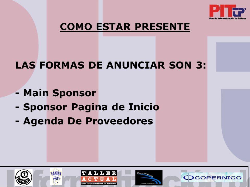 COMO ESTAR PRESENTE LAS FORMAS DE ANUNCIAR SON 3: - Main Sponsor.