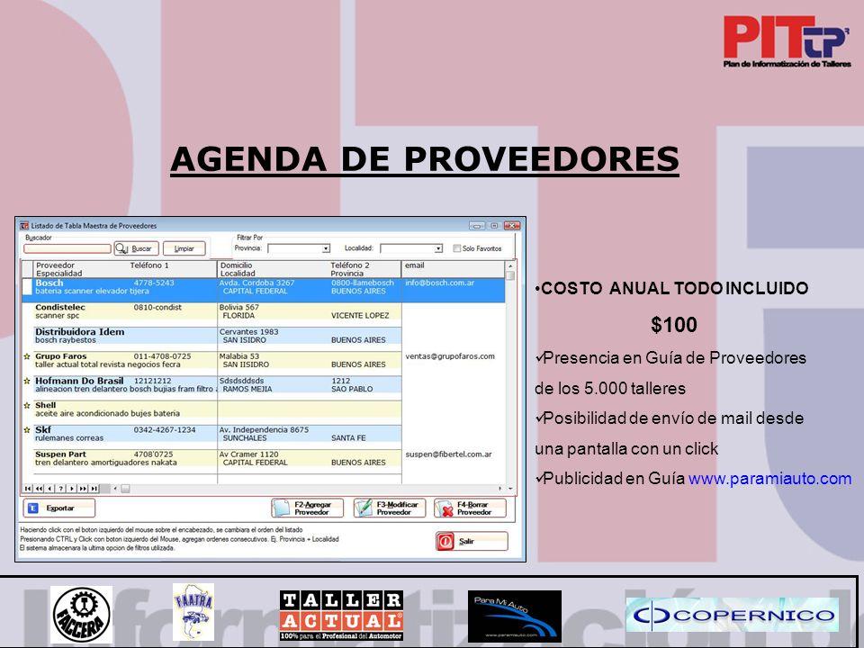 AGENDA DE PROVEEDORES COSTO ANUAL TODO INCLUIDO $100