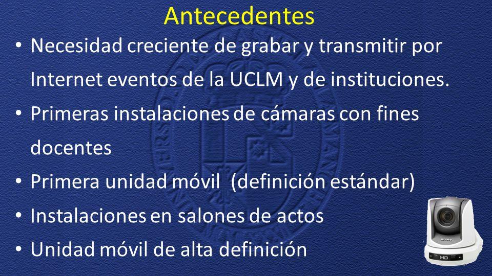 Antecedentes Necesidad creciente de grabar y transmitir por Internet eventos de la UCLM y de instituciones.