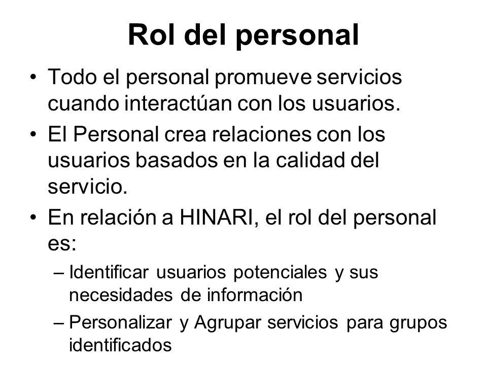 Rol del personal Todo el personal promueve servicios cuando interactúan con los usuarios.