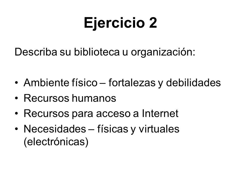 Ejercicio 2 Describa su biblioteca u organización: