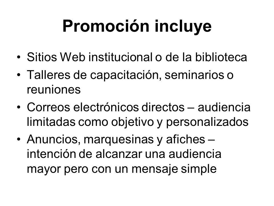 Promoción incluye Sitios Web institucional o de la biblioteca