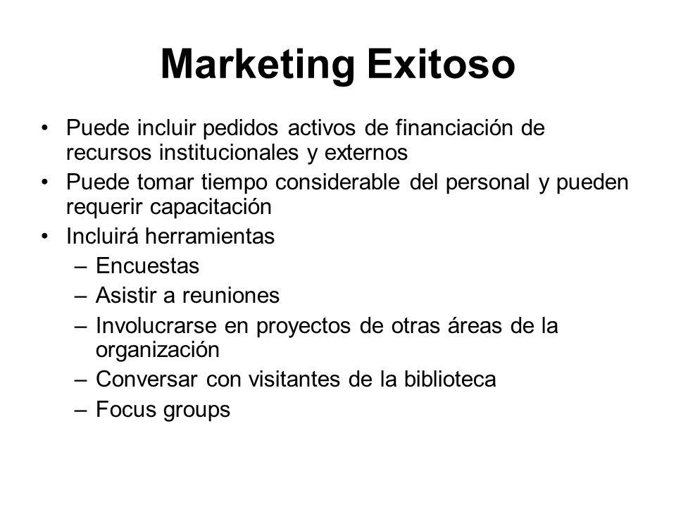 Marketing Exitoso Puede incluir pedidos activos de financiación de recursos institucionales y externos.