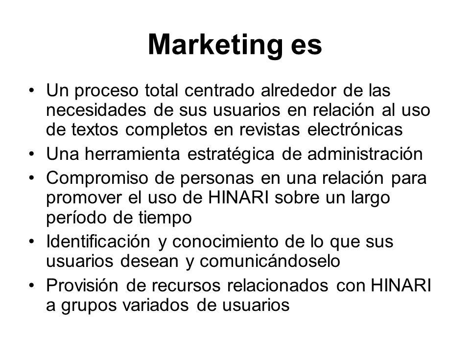 Marketing es Un proceso total centrado alrededor de las necesidades de sus usuarios en relación al uso de textos completos en revistas electrónicas.