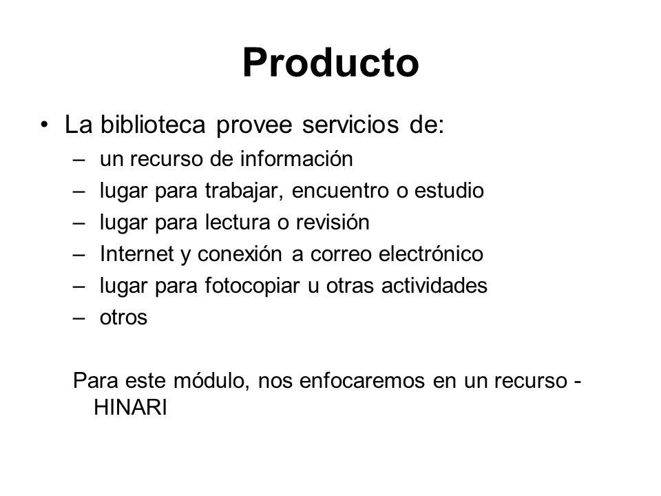 Producto La biblioteca provee servicios de: un recurso de información