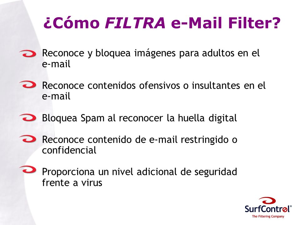 ¿Cómo FILTRA e-Mail Filter