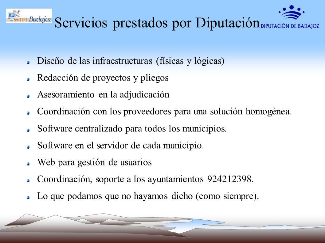 Servicios prestados por Diputación