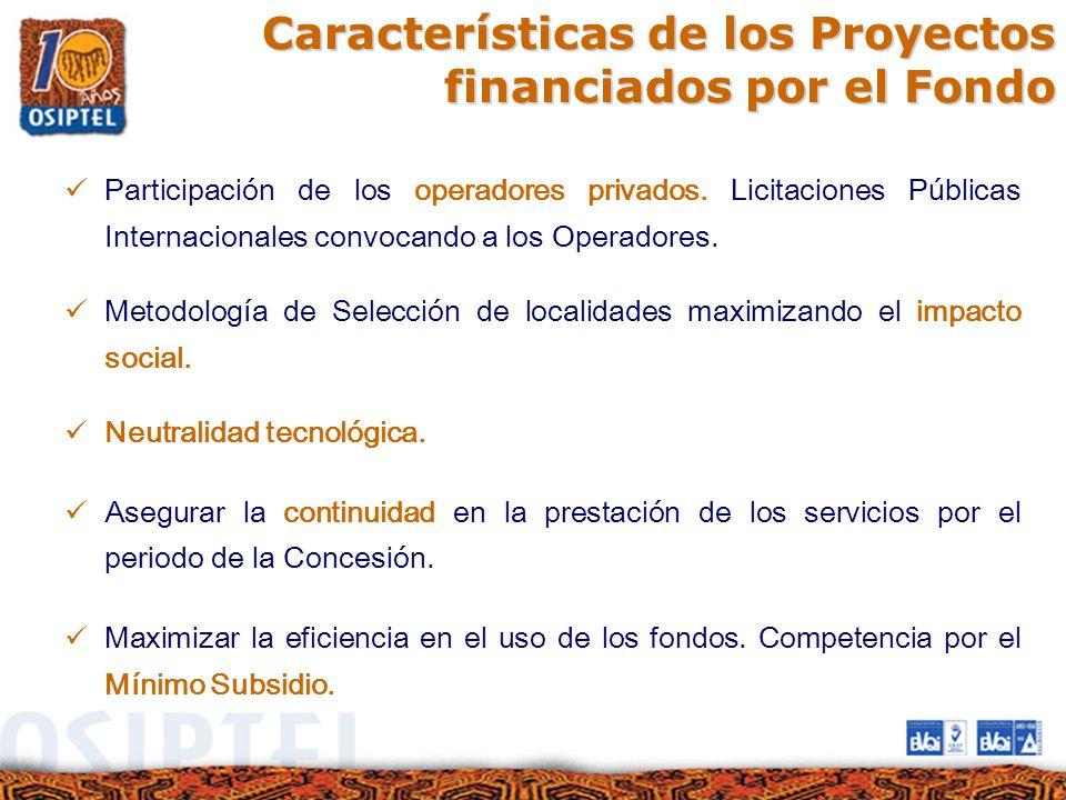 Características de los Proyectos financiados por el Fondo