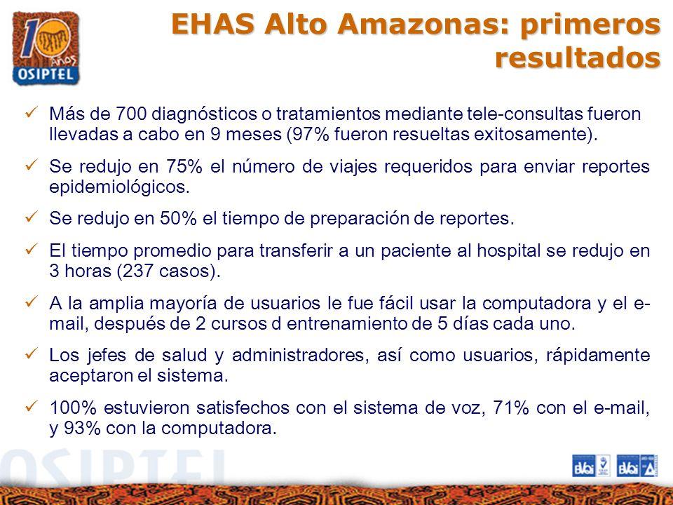 EHAS Alto Amazonas: primeros resultados