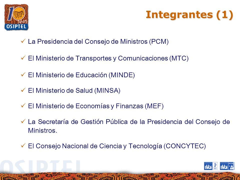Integrantes (1) La Presidencia del Consejo de Ministros (PCM)