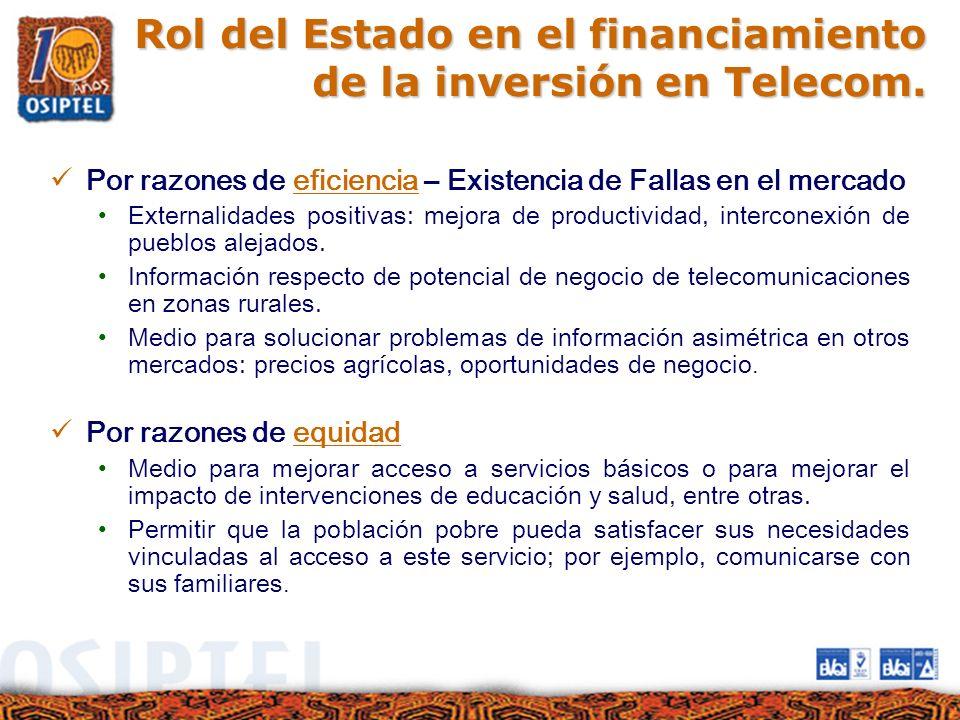 Rol del Estado en el financiamiento de la inversión en Telecom.