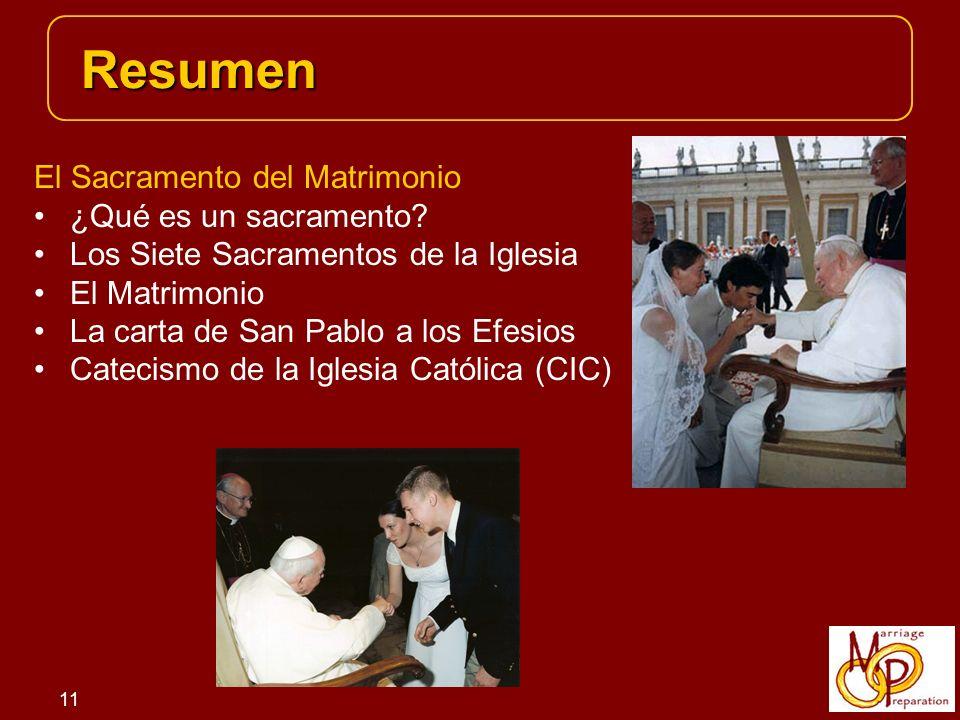 Resumen El Sacramento del Matrimonio ¿Qué es un sacramento