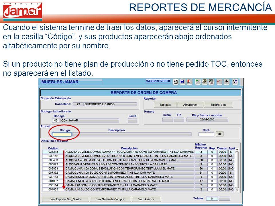 Cuando el sistema termine de traer los datos, aparecerá el cursor intermitente en la casilla Código , y sus productos aparecerán abajo ordenados alfabéticamente por su nombre. Si un producto no tiene plan de producción o no tiene pedido TOC, entonces no aparecerá en el listado.