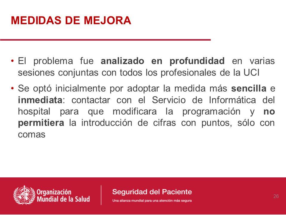 MEDIDAS DE MEJORA El problema fue analizado en profundidad en varias sesiones conjuntas con todos los profesionales de la UCI.