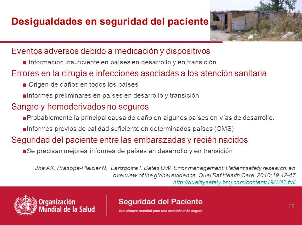Desigualdades en seguridad del paciente